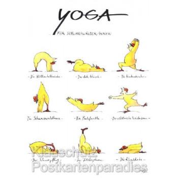 Peter Gaymann Hühner Postkarten - Yoga für SchwarzwälderInnen