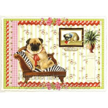Retro Glitter Postkarte von ACTEtre mit Mops Helmut