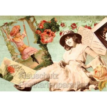 Carte Postale Postkarte - Nostalgie Karte mit alten Fotos und Glanzbildern