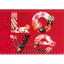 Postkarte LOVE - teillackiert