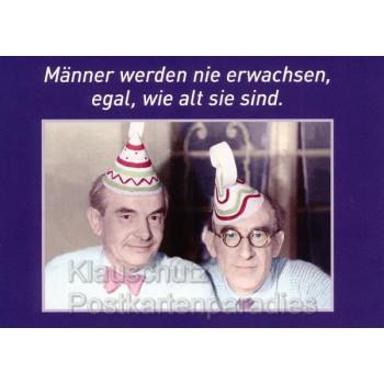 Lustige Postkarte zum Geburtstag / Geburtstagskarte - Männer werden nicht erwachsen, egal, wie alt sie sind.