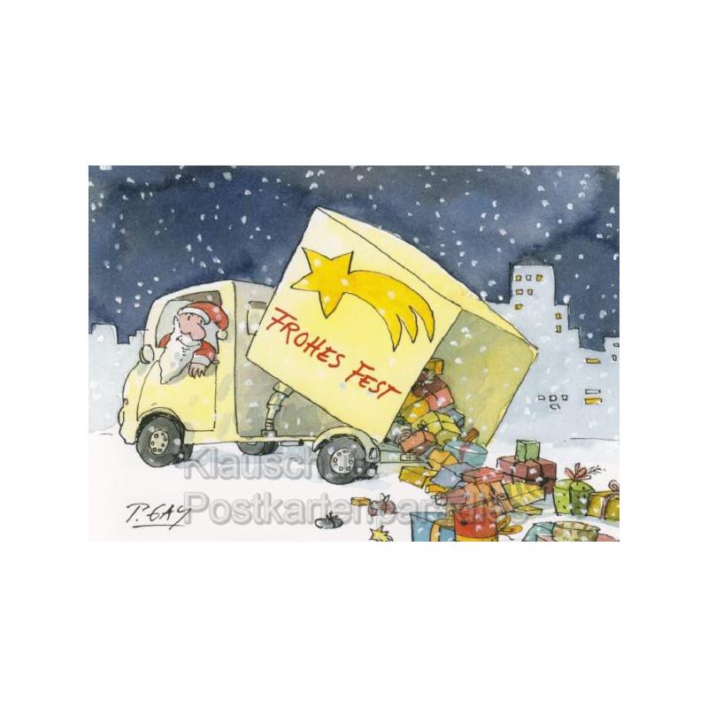 Frohes Fest - Weihnachtsmann mit Laster und Geschenken | Peter Gaymann Weihnachtskarte Postkarte