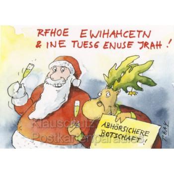Peter Gaymann Weihnachtskarte mit Weihnachtsmann und Elch - Abhörsichere Botschaft