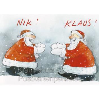 Peter Gaymann Weihnachtskarte mit Weihnachtsmann und Elch - Nik! Klaus! Weihnachtsmänner