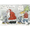 Peter Gaymann Weihnachtskarte mit Weihnachtsmann und Elch - Weihnachten Rentner Rollator Karte