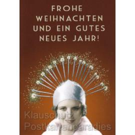 Frohe Weihnachten und ein gutes neues Jahr! Frau mit lustigem Hut Postkarte
