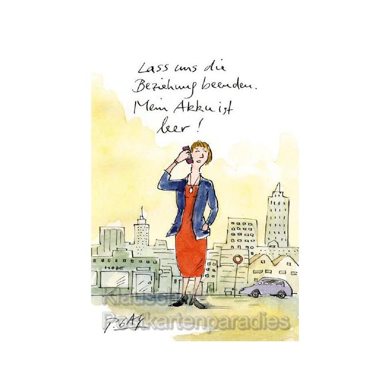 Lustige Peter Gaymann Postkarte | Akku leer