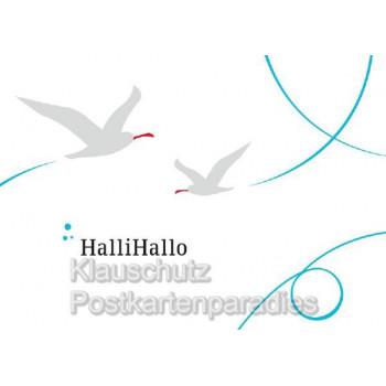 Küstenpost Postkarten - Küsten Postkarte von Chatlab - Halli Hallo mit Möwen