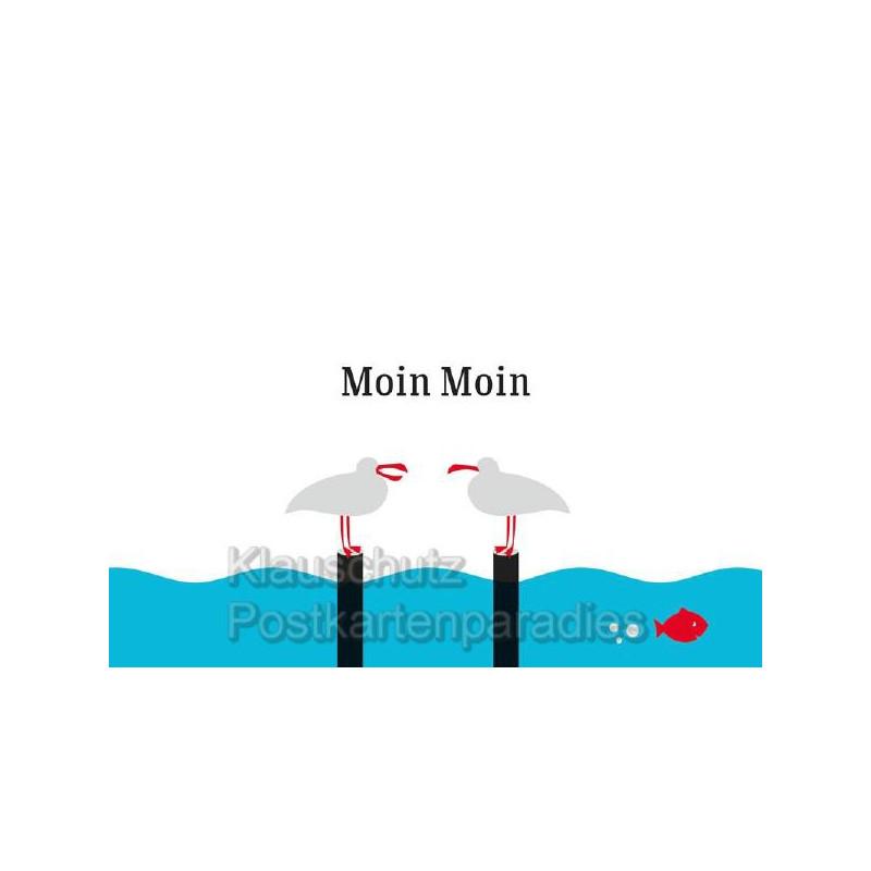 Küstenpost Postkarten - Küsten Postkarte von Chatlab - Moin Moin Möwen