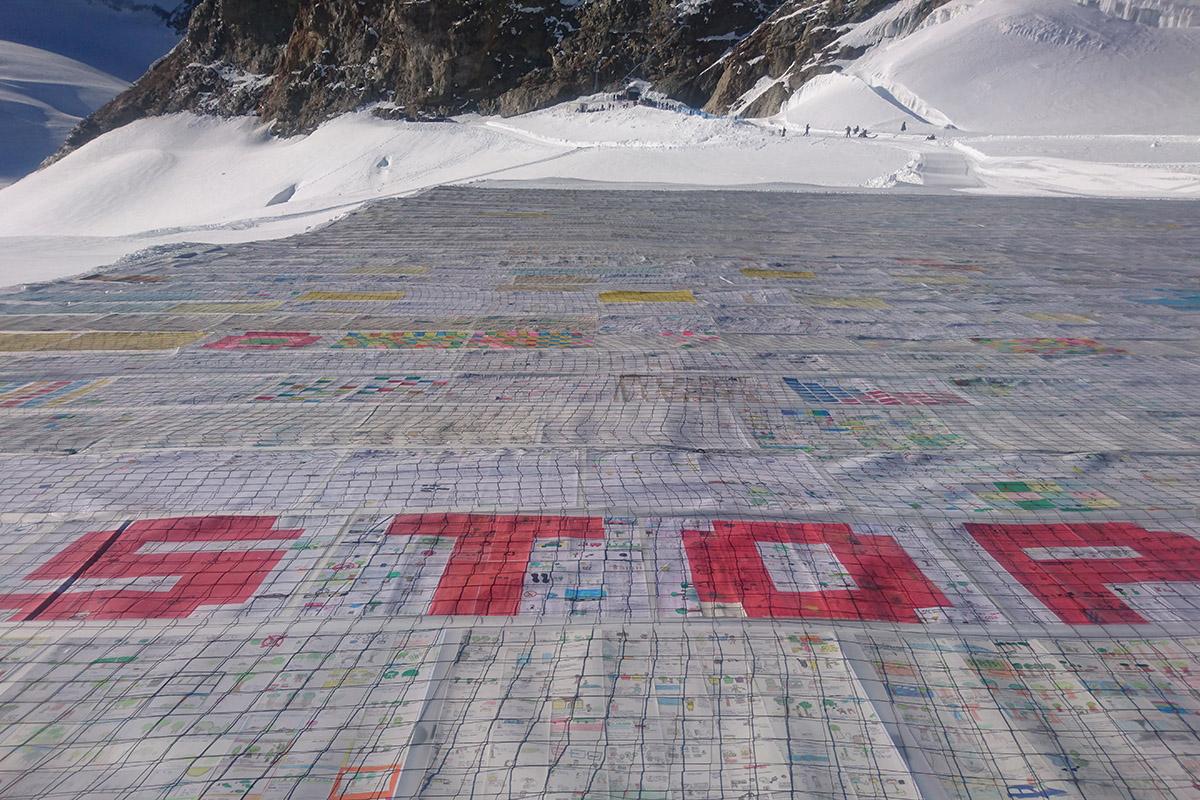 Der Aletschgletscher in den Schweizer Alpen im August 2018