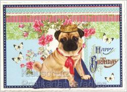 Glitter Postkarten - Mops mit Krone