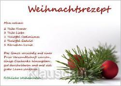 Postkarte Rezept für ein glückliches Weihnachten