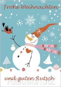 Eine persönliche Weihnachtskarte mit einem Schneemann