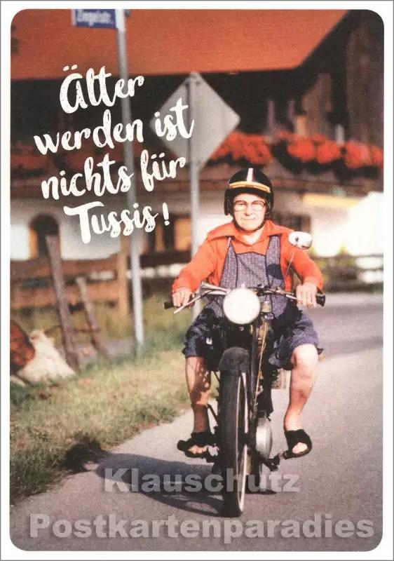 Geburtstagskarte mit alter Frau auf Motorrad