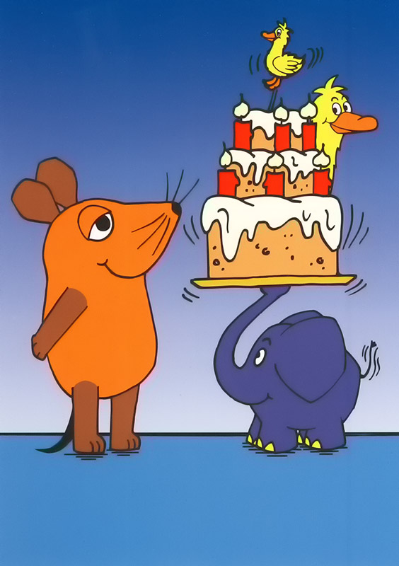 Maus, Elefant und Ente mit Geburtstagstorte