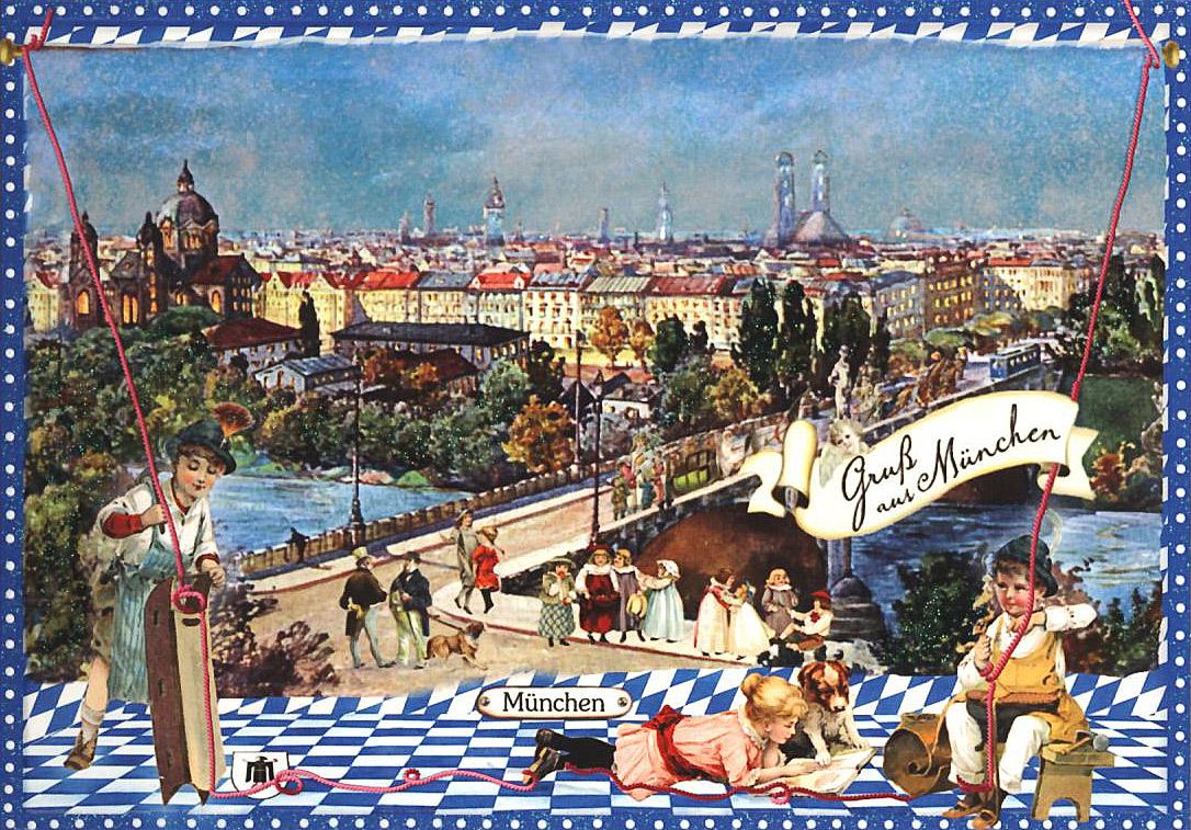 Nostalgische Gruß aus München Postkarte