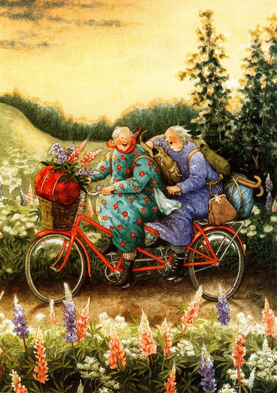 Inge Löök Postkarte mit alten Frauen auf Tandem