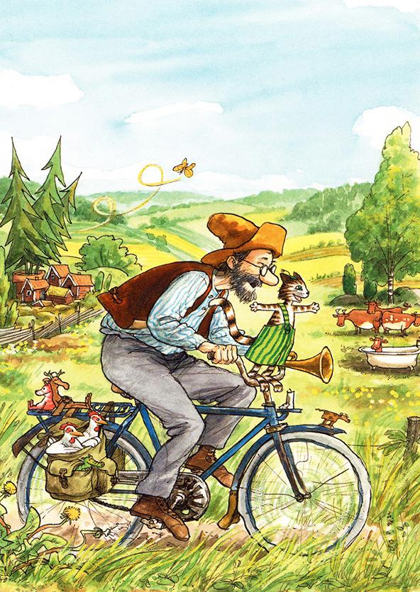Pettersson und Findus fahren Fahrrad