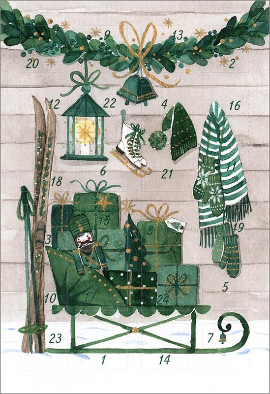 Adventskalender Doppelkarte Schlitten