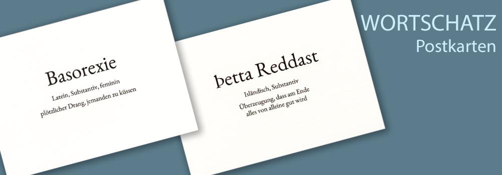 Lustige Wortschatzkarten Postkarten